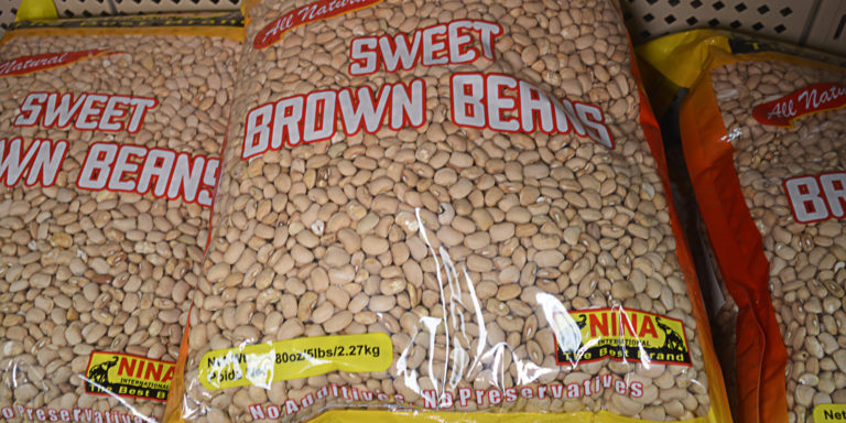 Sweet Brown Beans, Nina brand. Charlotte Market International specialty foods of West Africa dried, smoked, salted and canned 4740 Old Pineville Rd near Starmount off Exit 6a I-77 South Blvd & Woodlawn