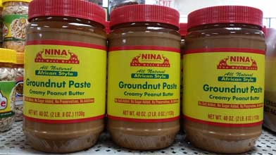 Groundnut paste, Nina brand. Shop Charlotte Market International today - Charlotte's best African grocer. West Africa and Caribbean specialty products - OPEN DAILY!