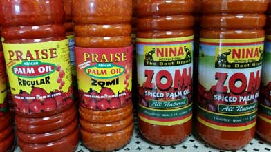 Praise, Nina's Zomi Pure Palm Oil. Regular and spiced. Shop Charlotte Market International today - Charlotte's best African grocer. West Africa and Caribbean specialty products - OPEN DAILY! Char, NC